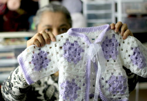 Crochet Patterns For Granny Square Sweaters : Crochet Granny Square Baby Sweater AllFreeCrochet.com