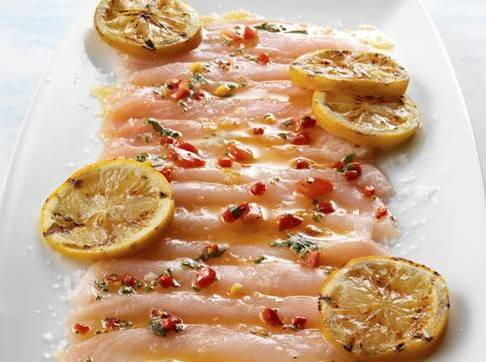 Hamachi Carpaccio With Piquillo Peppers And Grilled Lemon Cookstrcom