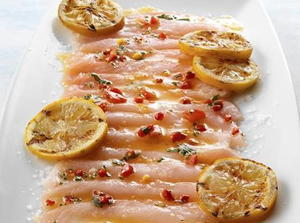 Hamachi Carpaccio with Piquillo peppers and Grilled lemon
