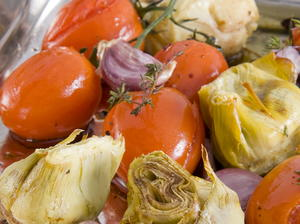 Roast Artichokes with Tomato and Garlic