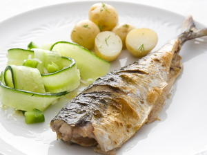 Mackerel with Cucumber Salad