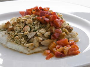 Halibut with Chunky Romesco