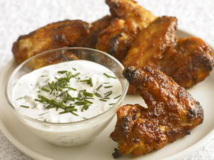 Baked BBQ Wings with Blue Cheese Dip