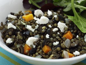 Puy Lentils with Goat Cheese, Olives, and Fresh Thyme