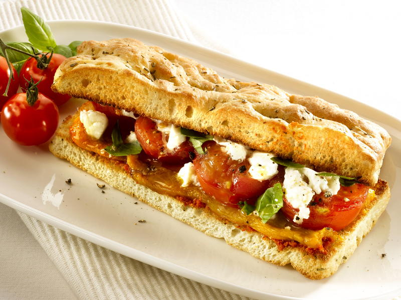 Focaccia Sandwich With Tomatoes And Peppers Cookstr Com