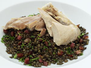 Guinea Hen with Spiced Lentils