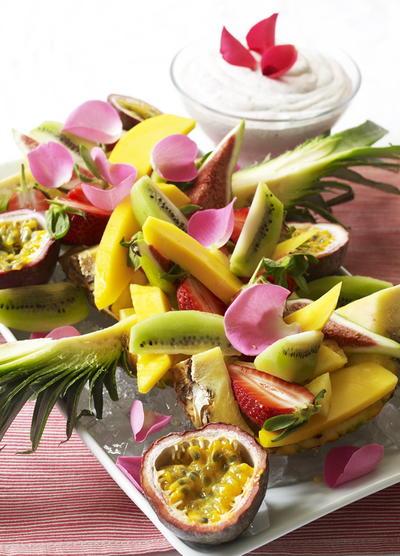Layered Fruit Platter with Rose Cream | Cookstr.com