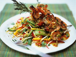 Thai-Styled Mango Salad with Griddled Shrimp