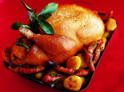 Roast Turkey with Spiced Cranberry, Bacon and Walnut Stuffing ...