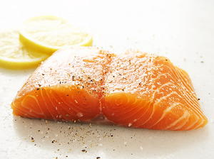 Poached Salmon with Tomato-Herb Butter Sauce and Cucumber