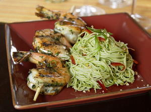 Thai Grilled Prawns with Emerald Noodles