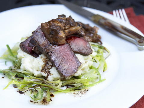 Dry-Aged Steaks with Smashed Yukon Potatoes and Buttered ...