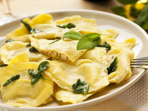 Squash Ravioli with Fried Sage