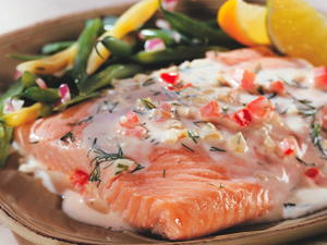 Salmon with Creamy Tomato Dill Sauce