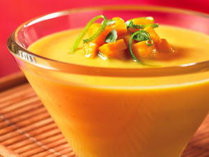 Cold Thai-Style Mango Coconut Soup with Mango Relish