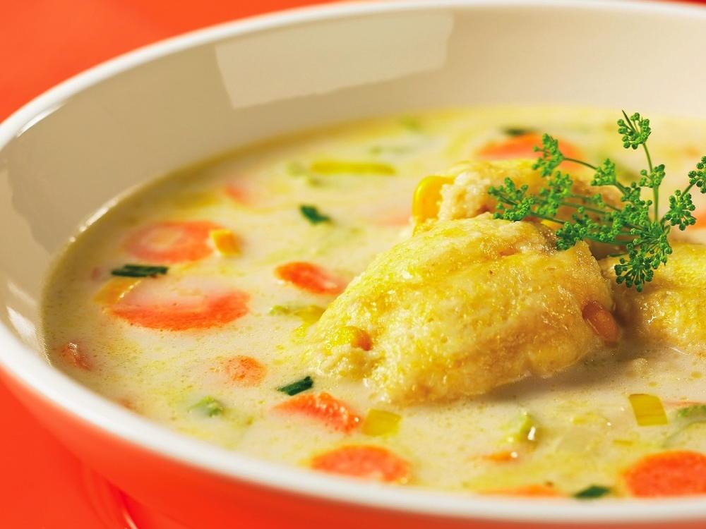 Carrot Celery And Leek Soup With Cornbread Dumplings Cookstr Com