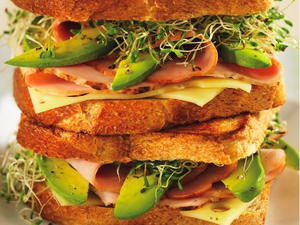 Ham, Turkey, Avocado, and Alfalfa Sprout Panini
