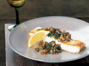 Sauteed Halibut with Pecan Shallot Topping