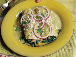 Tomatillo-Sauced Enchiladas with Spinach and Mushrooms
