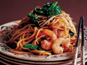 Stir-Fried Chinese Egg Noodles with Shrimp and Asian Greens