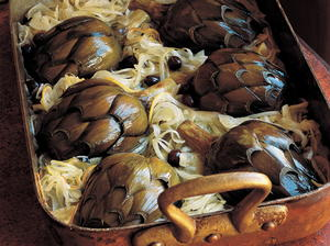 Baked Artichokes with Onions, Lemons, Black Olives and Mint