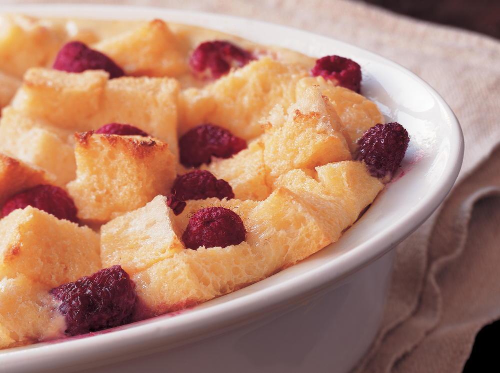 Bursting with Raspberries Bread Pudding | Cookstr.com