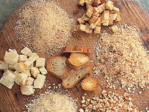 Dried Crumbs and Cubes from Fresh Bread