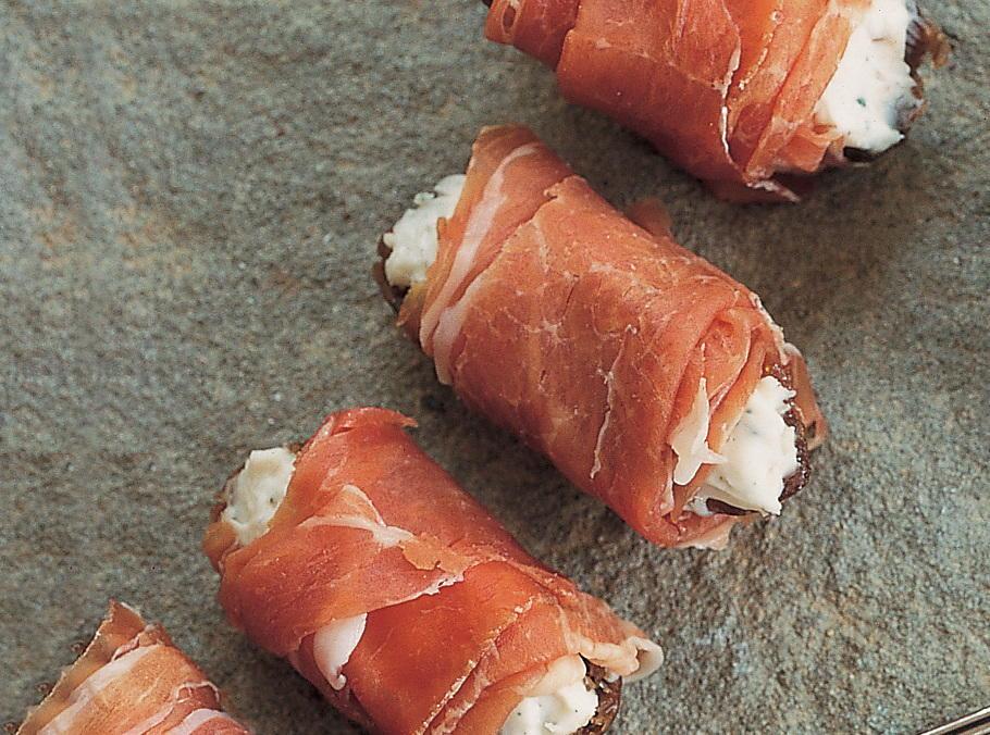 Saga-Stuffed Dates Wrapped in Prosciutto | Cookstr.com