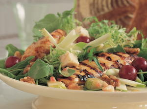 Tender Greens with Pears, Apples, Grapes, Gorgonzola, and Grilled Chicken