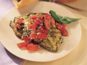 Grilled Chicken Pesto Topped with Marinated Tomatoes