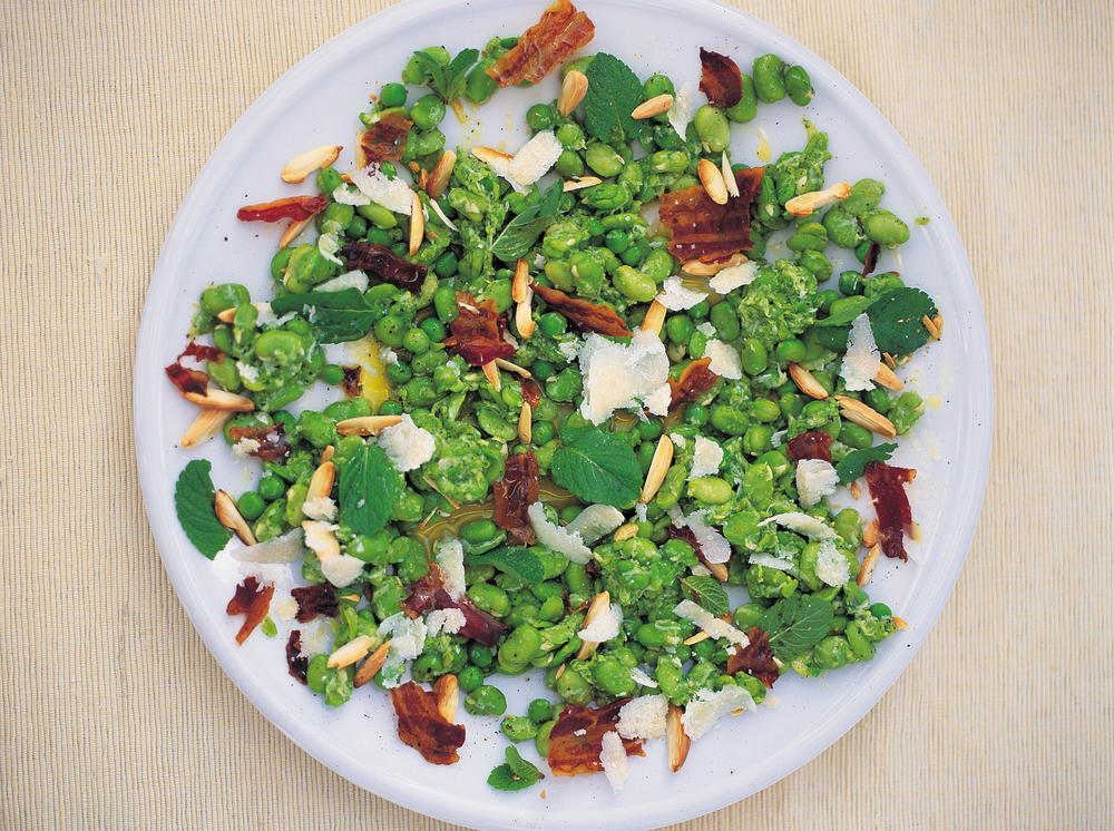 Broad Bean And Crispy Pancetta Salad With A Pea Pecorino And Mint Dressing Cookstr Com