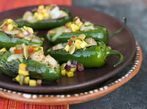 Little Peppers Stuffed with Garlic, Shrimp, and Oaxaca Cheese