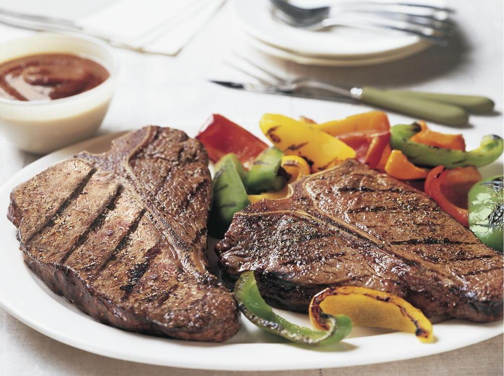 Spicy Five-Pepper T-Bone Steaks | Cookstr.com
