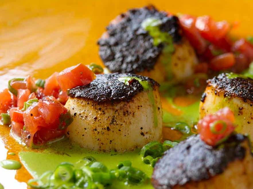 Blackened Sea Scallops, Green Onions, Roasted Tomatoes ...