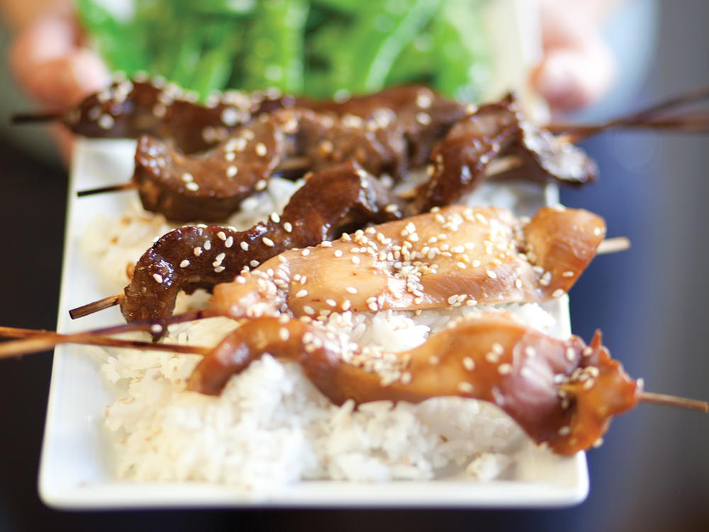 Teriyaki Chicken And Beef Skewers Cookstr