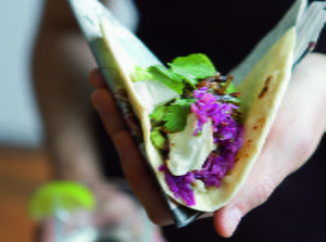 Halibut Tacos with Tequila-Lime Marinade and Red Cabbage Slaw
