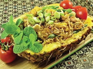 Thai Pineapple Fried Rice in a Pineapple Shell