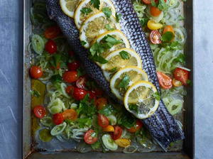 Roasted Whole Sea Bass with Fennel, Meyer Lemons, and Cherry Tomatoes