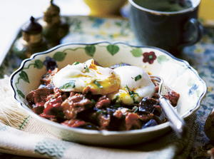 Spicy Eggplant and Tomato with Poached Eggs
