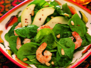 Spinach, Shrimp, and Pear Salad with Piñons