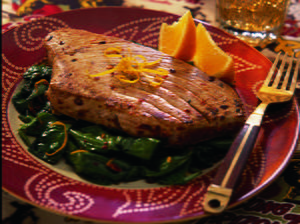 Pan Seared Tuna Steaks on Spinach a la Baja