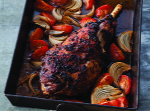 Slow-Roasted Goat Leg with Harissa, Tomatoes and Onions