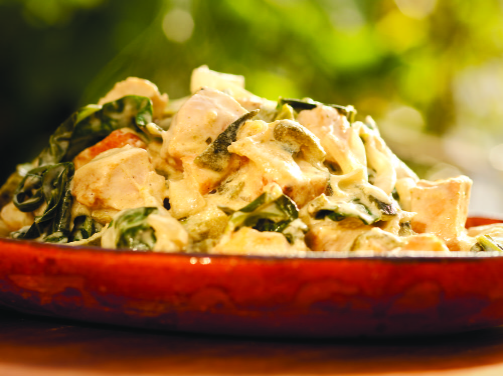 Creamy Chicken and Greens with Roasted Poblano and ...
