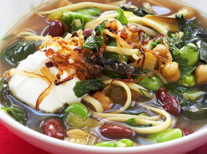 Persian New Year's Soup with Beans, Noodles, and Herbs
