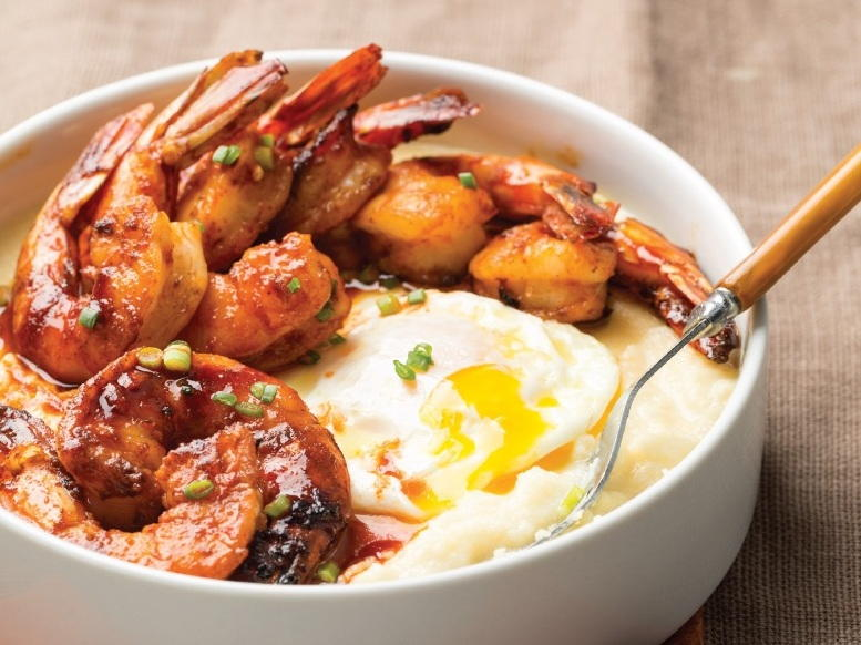 Spicy Shrimp and Cheesy Grits with Over-Easy Eggs ...