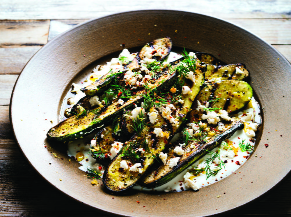 Grilled Zucchini with Yogurt Sauce, Feta, Lemon and Dill | Cookstr.com