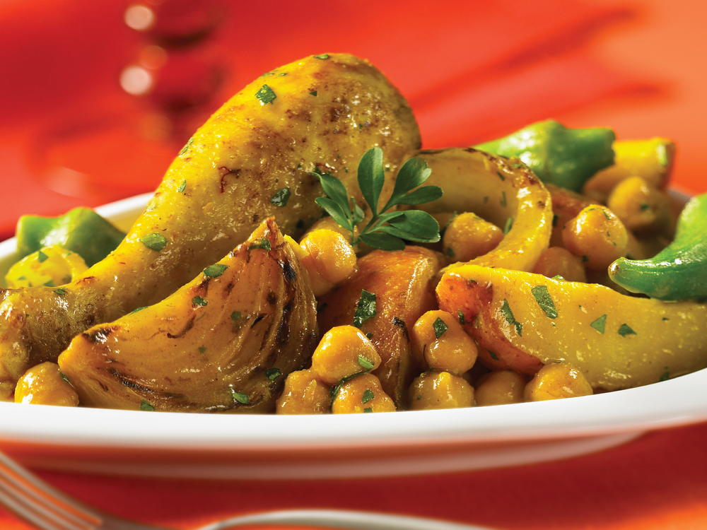 Golden Chicken with Potatoes and Chickpeas | Cookstr.com