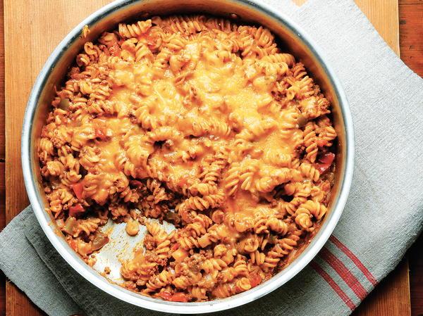 One-Skillet Beefy Enchilada Noodle Casserole