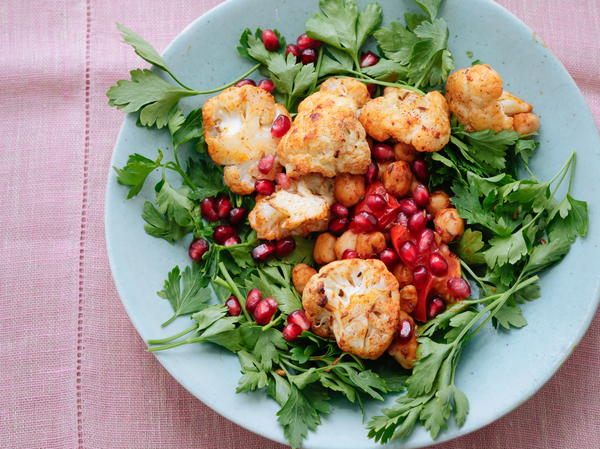 Warm Spiced Cauliflower and Chickpea Salad with Pomegranate Seeds