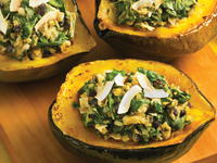 Acorn Squash with Coconut Chickpea Stuffing